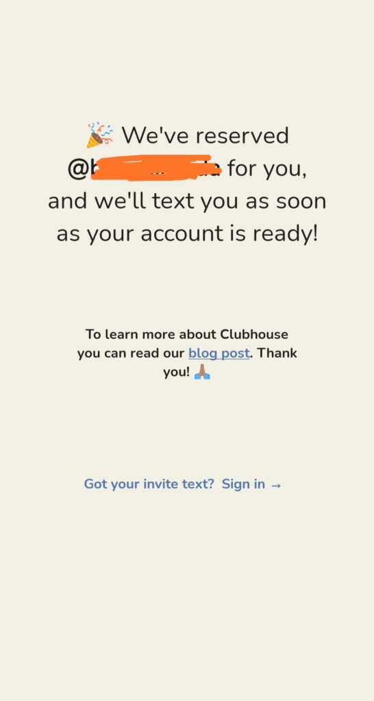 clubhouse username reservation confirmation message